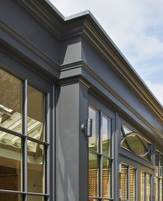 This striking, Westbury Black orangery brings the outside in, making the most of the outdoors when living in city suburbs Garden Room, Sunroom, Conservatory Ideas Sunroom, House Exterior, What Is A Conservatory, Home Greenhouse, Bay Window, Orangery, English House