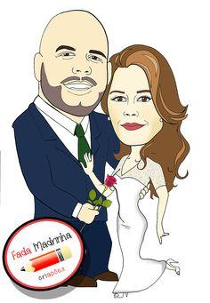 """Caricaturando para o casamento da Michelle... <3 Já estou """"International"""""""