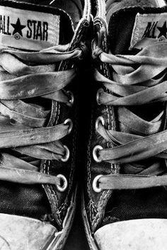 Black and white photography | Weathered Chucks | Converse shoe photo