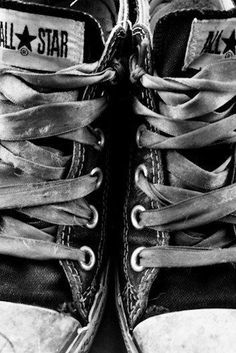 Black and white photography | Weathered Chucks | Converse shoe photo