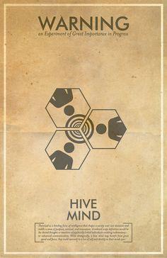 Hive Mind Warning Poster // Fringe Science Illustration Poster // Vintage Science Fiction Wall Art
