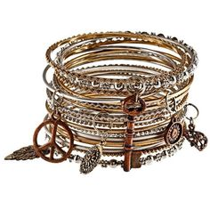 1fc54d7e95 Mixed Metal Bangles with Charms (India) - Overstock™ Shopping - Great Deals  on Bracelets