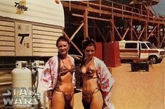 Princess Leia and body double on set