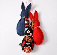 Puha, textil nyuszi dekoráció Húsvétra - Masni / Easy sewing project for Easter, rabbit with template to download