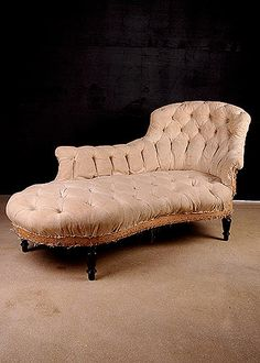 French Antique Napoleon III Period Meridienne Chaise Longue