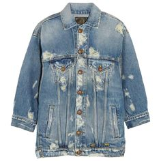 Blouson Bleu taille M International en Denim - 10260281 Distressed Jean Jacket, Oversized Denim Jacket, Blue Jean Jacket, Punk Jackets, Jean Jackets, Outerwear Jackets, R13 Denim, Jeans, Cool Outfits