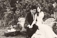 black & white glamour wedding bride groom vintage
