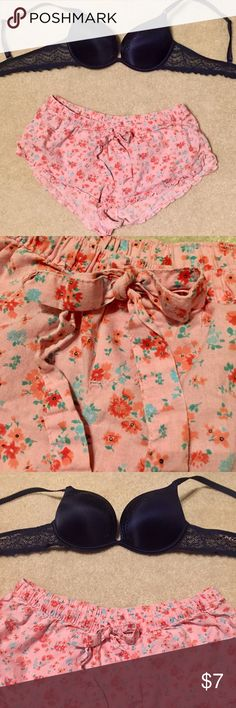 Aerie Itty Bitty Floral Boxers Sleep Shorts PJs Cute aerie pajama bottom boxers! Ruffle hem and pretty floral print. Worn but still have life in them! aerie Intimates & Sleepwear Pajamas
