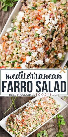 Mediterranean Farro Salad with a homemade lemony vinaigrette, Greek olives, vegetables, and feta cheese is a flavorful and healthy side dish recipe. Farro is one of my favorite ancient grains and is so satisfying when combined with these fresh and colorful ingredients. #farro #salad #Mediterranean  #greek #olives #feta #recipe #sidedish