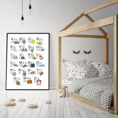 A3 Plakat Alfabet polskie litery dla chłopca - SKLEP--Wikilistka - Plakaty dla dzieci