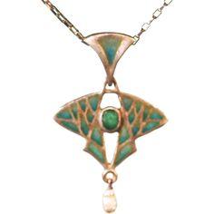 Vintage German Art Nouveau Jugendstil Plique a jour enamel Emerald and Pearl