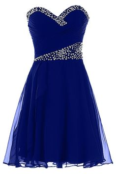 Sunvary 2015 New Chiffon Sequin Short Prom Evening Dresses Homecoming Gowns Bridemaid Dresses Sweety 16 Formal Pageant Dress US Size 2- Royal Blue