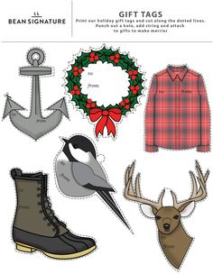 L.L.Bean themed Christmas gift tags. Print on card stock, cut along dotted lines, use a hole punch and tie onto package with string via #LLBeanSignature