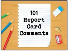 "Image of a piece of paper entitled ""101 Report Card Comments"""
