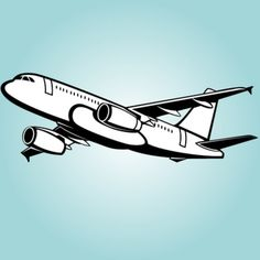 Flying airplane with thick outline