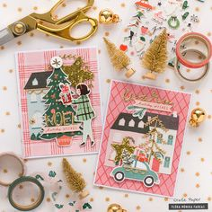 Love these cards from Crate Paper with a retro color scheme for the Christmas Holiday season Merry Christmas, Christmas Mood, Christmas Design, Christmas Paper Crafts, Holiday Crafts, Up Book, Crate Paper, Christmas Illustration, Paper Cards