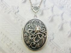 Silver Locket Necklace - The ORIGINAL Octopuss Garden by the Sea - SILVER OCTOPUS - BirdzNbeez - Valentines Day Birthday Best Friend Gift