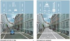 Rearrange a street for bikes: two way cycle path, one way for cars, in…