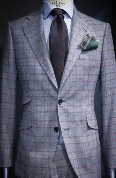 Great Autumn Style: Flannel suit with windowpane check + wool paisley tie. click image for more style inspiration