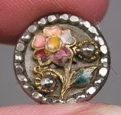 Enamel Floral & Steel Picture Button