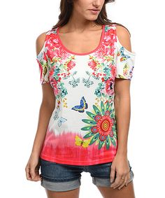 Take a look at this White & Pink Floral Cutout Top today!