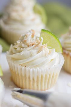 These Coconut Lime Cupcakes are filled with bright and tropical flavors. The cupcakes are light and fluffy and perfect for spring!