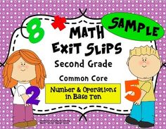FREEBIE:  Use these quick, formative assessments to identify what students have mastered and where they may need additional support. This sample includes 5 sets of exit slips for 2nd grade Common Core Standard:  Number & Operations in Base Ten. They are the perfect progress monitoring tool to guide your instruction!