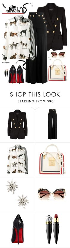 """""""😎"""" by gabyidc ❤ liked on Polyvore featuring Balmain, RED Valentino, STELLA McCARTNEY, Thom Browne, Lulu Frost, Krewe and Christian Louboutin"""