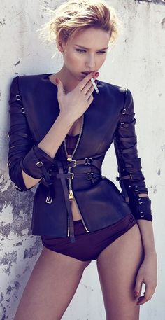 Adriana Cernanova in amazing black leather fitted jacket ..please put the cigarette down though!