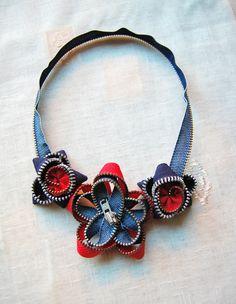 Zipper necklace Zipper jewelry Flower necklace Denim