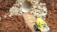 toy car tunnel in backyard play area. Great idea for fairy/kids garden Diy Toys Car, Activities For Boys, Indoor Activities, Summer Activities, Play Spaces, Play Areas, Backyard For Kids, Garden Kids, Diy Garden Toys