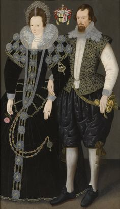 Sir Reginald and Lady Mohun. Sir Reginald Mohun, born 1564 and Baronet (c 1603 - c was an English politician who sat in the House of Commons in 1625 and Philip Mould, London collection. Elizabethan Fashion, Elizabethan Era, Historical Costume, Historical Clothing, Elisabeth I, Arte Fashion, Disco Fashion, 17th Century Fashion, 18th Century