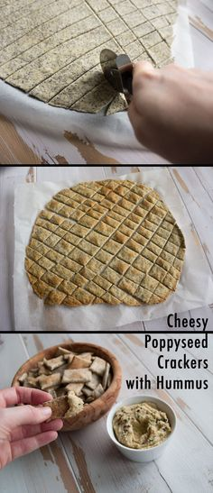vegan Cheesy Poppyseed Crackers with Homemade Hummus. Perfect for parties or as a snack! Vegan Sweets, Vegan Snacks, Healthy Snacks, Vegan Recipes, Snack Recipes, Cooking Recipes, Homemade Crackers, Homemade Hummus, Yummy Food