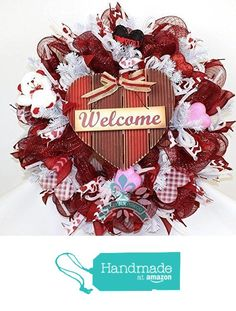 Valentines Day Deco Mesh Wreath with Large Welcome Sign from Crazyboutdeco Deco Mesh Wreaths,Cemetery Arrangements https://www.amazon.com/dp/B01N4GEHCI/ref=hnd_sw_r_pi_dp_A3.JybYRJKSMY #handmadeatamazon