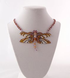 Roseate Skimmer Dragonfly Necklace