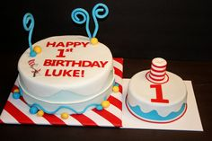 dr seuss birthday cake | Dr. Seuss Birthday Cake and Smash cake, with cat in the hat