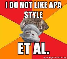 Funny!  Psychology Student Platypus - i do not like apa style et al.