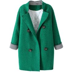 Lapels Contrast-cuffs Md-long Loose Pea Coat (450 HRK) ❤ liked on Polyvore featuring outerwear, coats, jackets, lapel coat, long peacoat, long pea coat, green pea coat and pea coat
