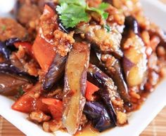 Stir-fry minced meat eggplant in bean sauce - looks yum, substitute vegan mince / tvp for the meat.