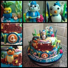 My two tier Octonauts cake. Chocolate cake on the bottom tier & banana cake on the top tier. Fondant Captain Barnacles, Kwazii, Peso, Tunip, sea creatures & coral. Cakes covered in white fondant then painted to look like the sea.