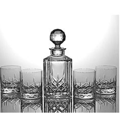 Cut Crystal Decanter Set From Bohemia