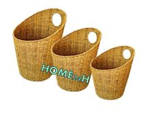 Home24h co,.ltd: Round Storage Basket By Seagrass S/3