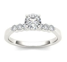 14Kt White Gold 0.75 Ct Diamond Classic Engagement Ring by ElizabethJewelryInc on Etsy