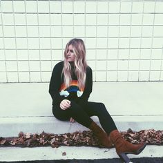 RAINBOW SWEATER || @CHANROBERSON || cute top, rainbow, forever21, blonde, blogger, simple style, outfit idea, warm clothing, cool style.