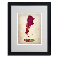 Argentina Watercolor Map by Naxart Matted Framed Painting Print
