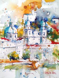 Watercolour Modern Art Salzburg Modern Art, Watercolor, Salzburg, Abstract, Artwork, Cities, Painting, Artworks, Art Production