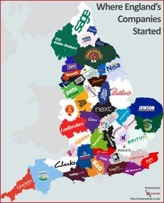 Where England's Companies Started #infographic #England #Business