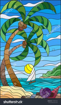 Illustration in stained glass style with a tropical sea, landscape, coconut trees and shells on the sandy beach, a sailboat with a white sail in the distance on the background of Sunny sky and clouds Faux Stained Glass, Stained Glass Designs, Stained Glass Patterns, Glass Art Design, Glass Painting Designs, Mosaic Art, Mosaic Glass, Coconut Tree Drawing, Style Tropical