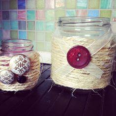 Portacandele rafia fai-da-te Homemade candle holders