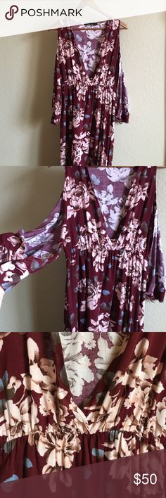 Beautiful long flowered slit dress Very beautiful maroon and light pink flower long slit dress. Slits in the arms and the legs! Such a beautiful dress! Size large that will fit medium! Not for love and lemons For Love and Lemons Dresses Long Sleeve